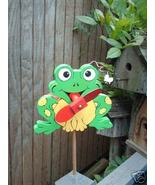 Whirligig Frog wind mobile Handpainted Handpainted Green - $30.00