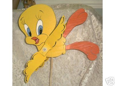 Whirligig TWEETY Handcrafted, Handpainted, wind-spinner, moving parts,mobile