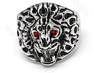SSR04 Roaring Lion Head Chunky Bikers Stainless Steel Ring