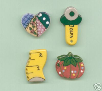 Ceramic Button Covers  Sewing Theme