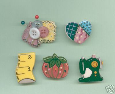 Ceramic Button covers Sewing Handcrafted Handpainted