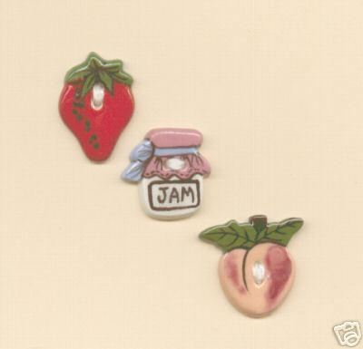 Decorative Ceramic Buttons -Peach & Strawberry Jam