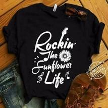 Rockin' The Sunflower Life Ladies T-Shirt Black Cotton S-3XL - £15.28 GBP+