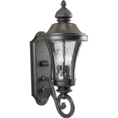 Primary image for Progress Lighting P5835-77 2-Light Wall Lantern with Water Glass Panels, Forged