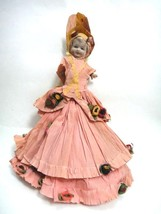 antique PORCELAIN FLAPPER DOLL w/CREPE PAPER CLOTHING  - $42.50