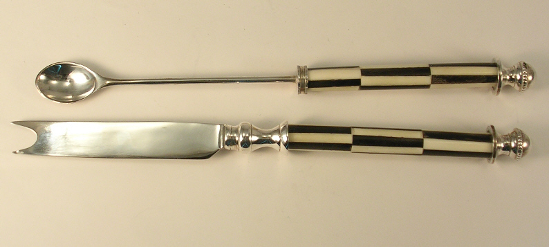 Silverplate and Round Imitation Marble Inlay Fondue Tools