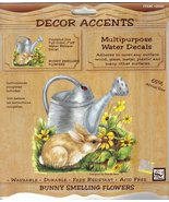 "Loew Cornell Decor Accents Bunny Smelling Flowers Water Decal 7"" x 8"" Nb... - $6.99"