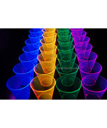 50ct Neon Assorted Blacklight Reactive 9oz Party Cups with 5 Blacklight ... - $19.95