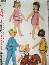 Simplicity 1668 Vintage 1940s Toddler Size 1 Overalls Top Romper - $9.95