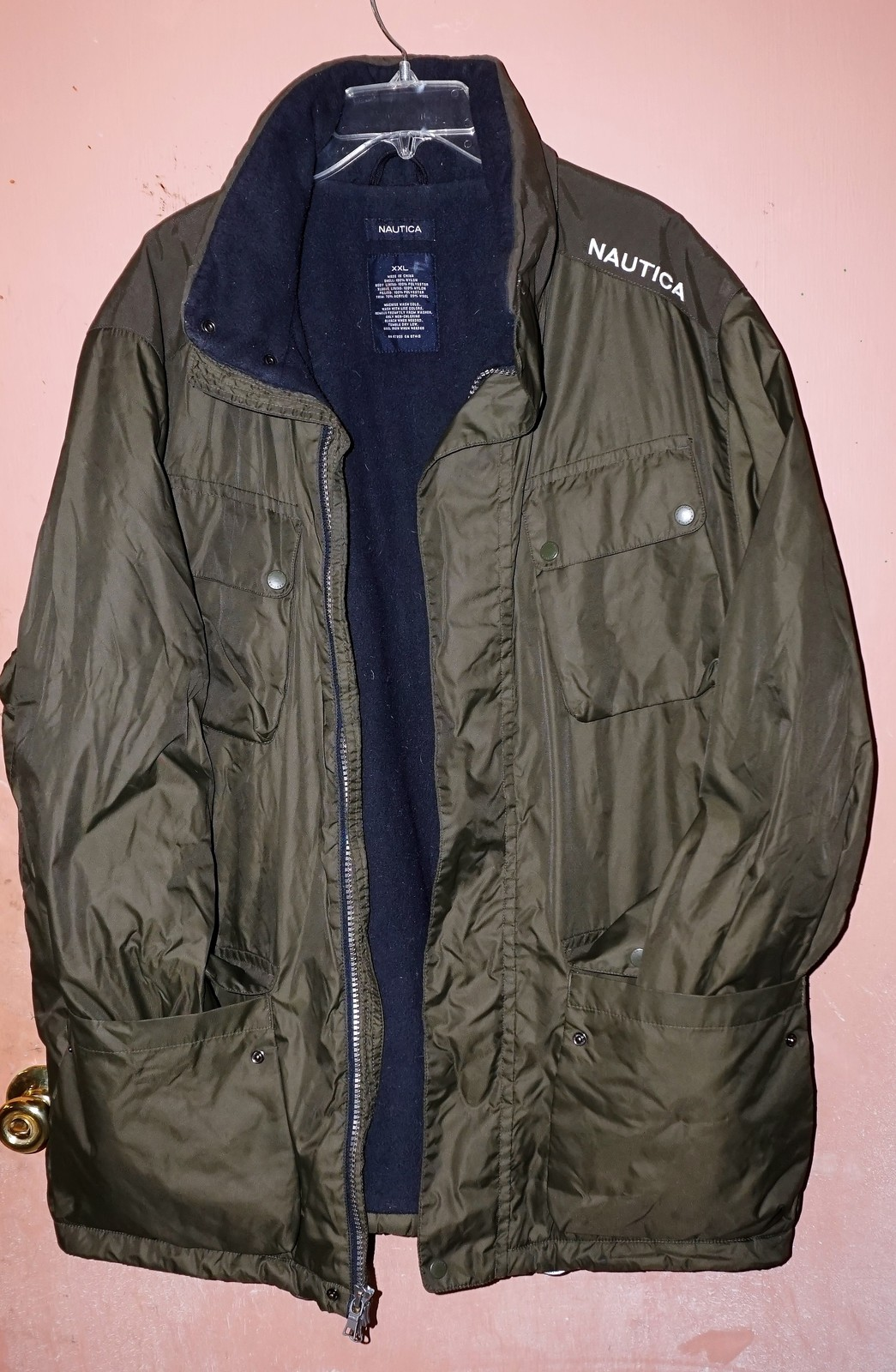 Primary image for Nautica Men's Forest Green Coat Size XXL Polyester Collar Stow Away Hood