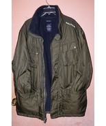 Nautica Men's Forest Green Coat Size XXL Polyester Collar Stow Away Hood  - $39.93