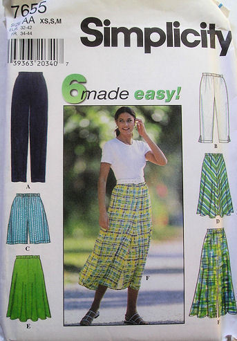 Womens Pants Shorts Skirt 6 Styles Simplicity 7655 NEW