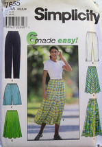 Womens Pants Shorts Skirt 6 Styles Simplicity 7655 NEW - $3.99