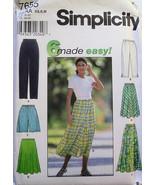 Womens Pants Shorts Skirt 6 Styles Simplicity 7655 NEW - $3.99