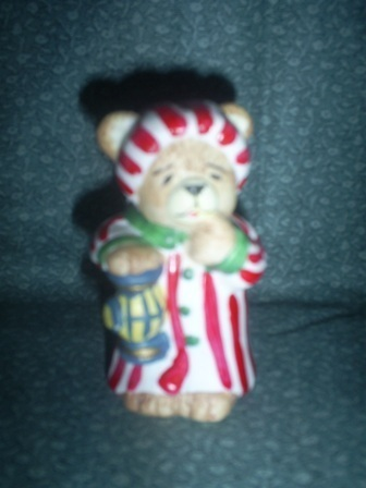Primary image for  Christmas Bear figure in red white striped pajamas and nightcap holding lantern