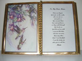 MOM DECORATED BOOK ~  HUMMINGBIRDS WITH FUSHIAS   - $12.00