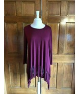 Oddy Burgundy Long Sleeve Tunic Top w/ Fringe - $19.00