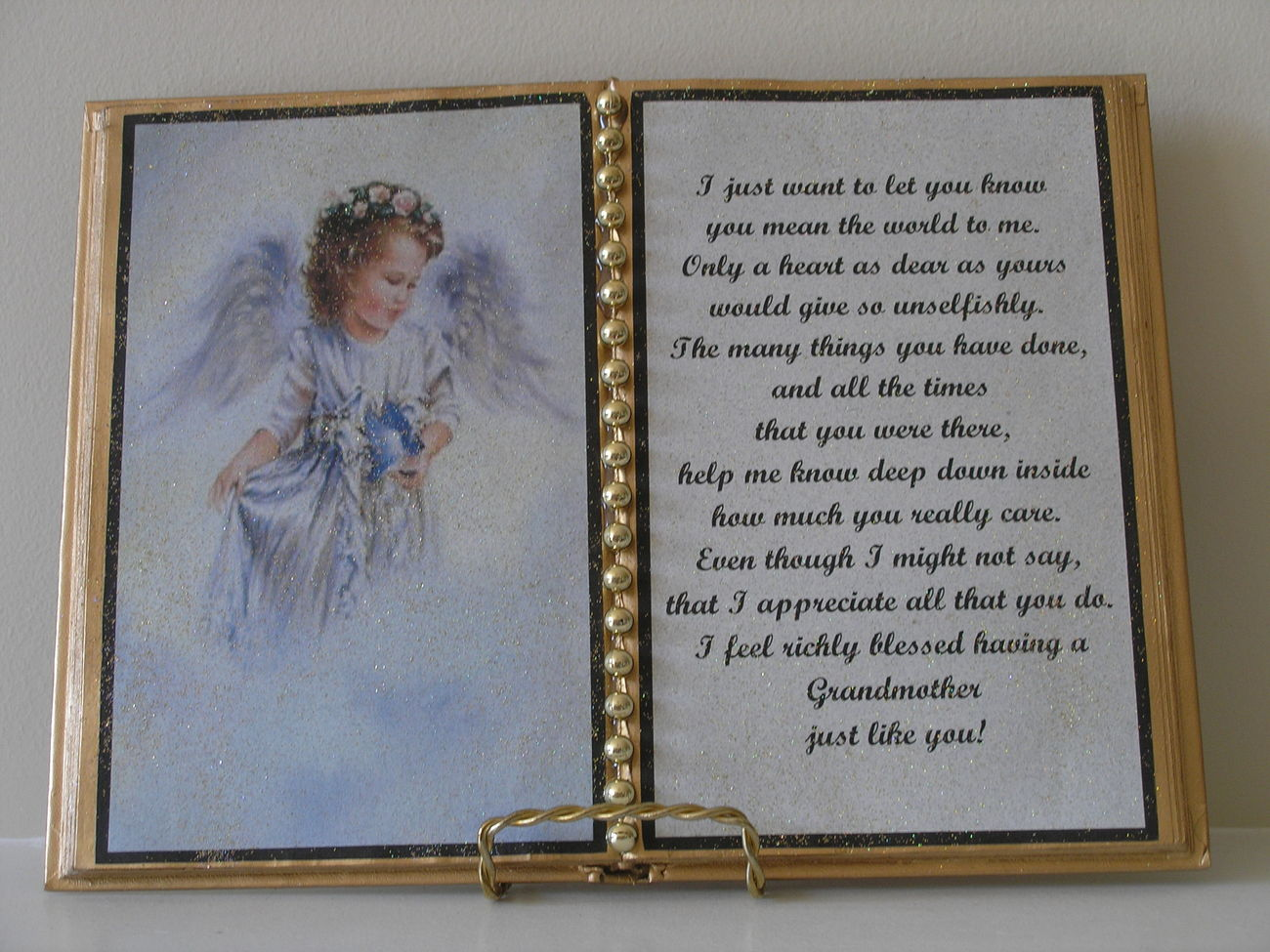 Primary image for GRANDMOTHER DECORATED BOOK ~ ANGEL WITH BLUEBIRD