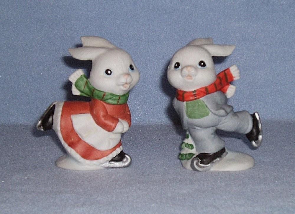 Homco 5305 Skating Bunnies 2 Figurines Home Interiors Rabbits