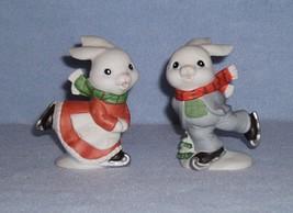Homco 5305 Skating Bunnies 2 Figurines Home Interiors Rabbits image 1
