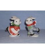 Homco 5305 Skating Bunnies 2 Figurines Home Interiors Rabbits - $5.99