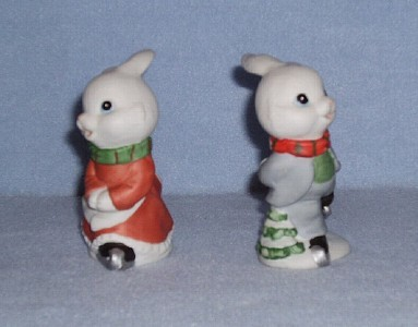 Homco 5305 Skating Bunnies 2 Figurines Home Interiors Rabbits image 2