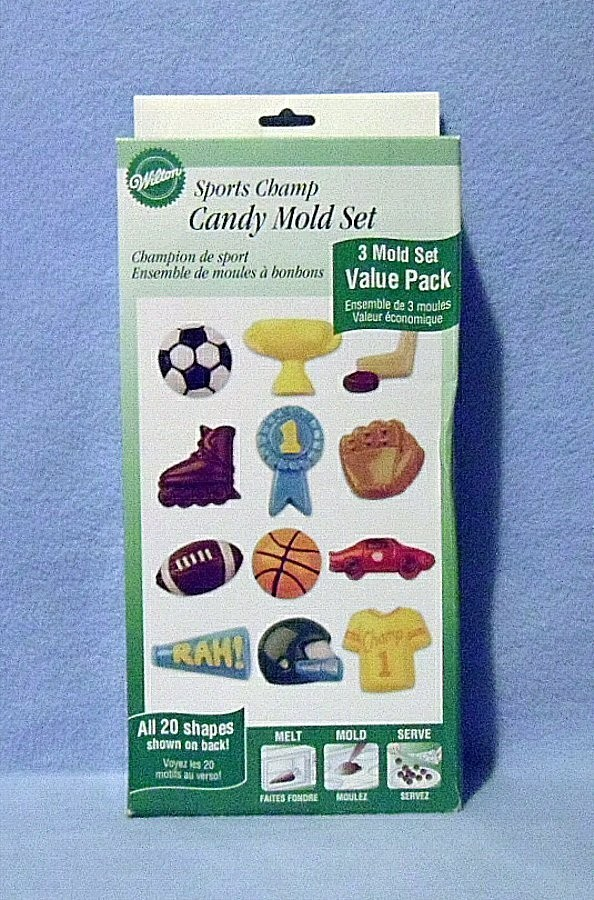 Wilton Candy Molds Set Sports Champ 3 Molds 20 Shapes New in Box