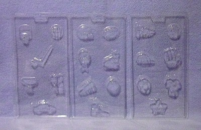 Wilton Candy Molds Set Sports Champ 3 Molds 20 Shapes New in Box image 3