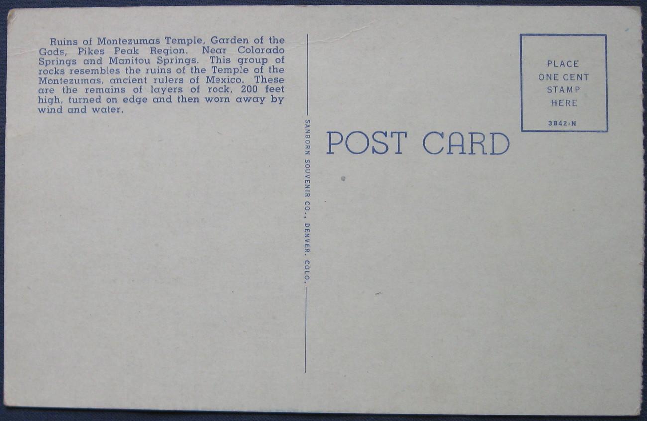 Sanborn Souvenir Co, Full Bleed, Linen Postcard, Garden of the Gods,  Colorado