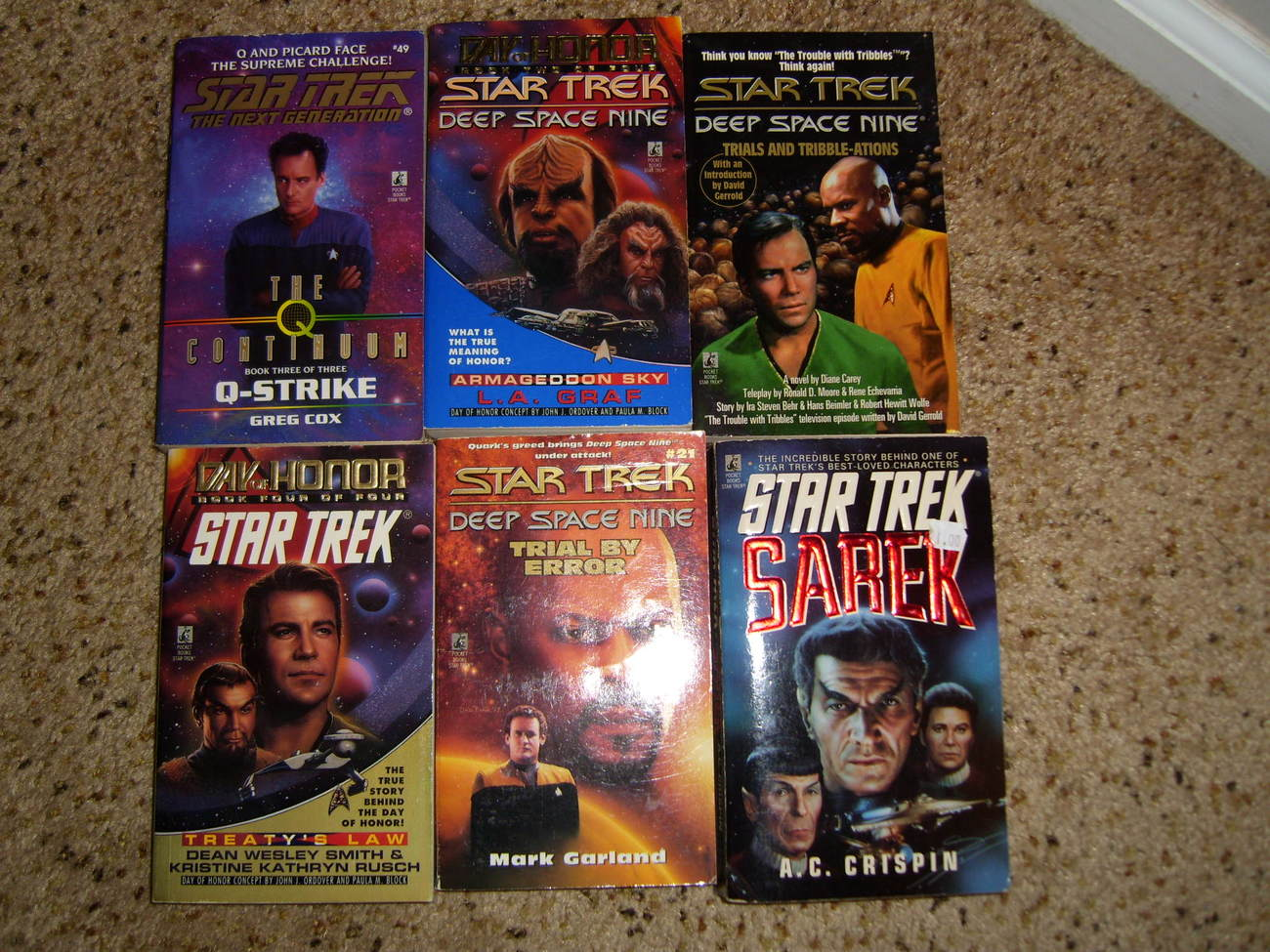 Paperback book lot of 6 Star Trek