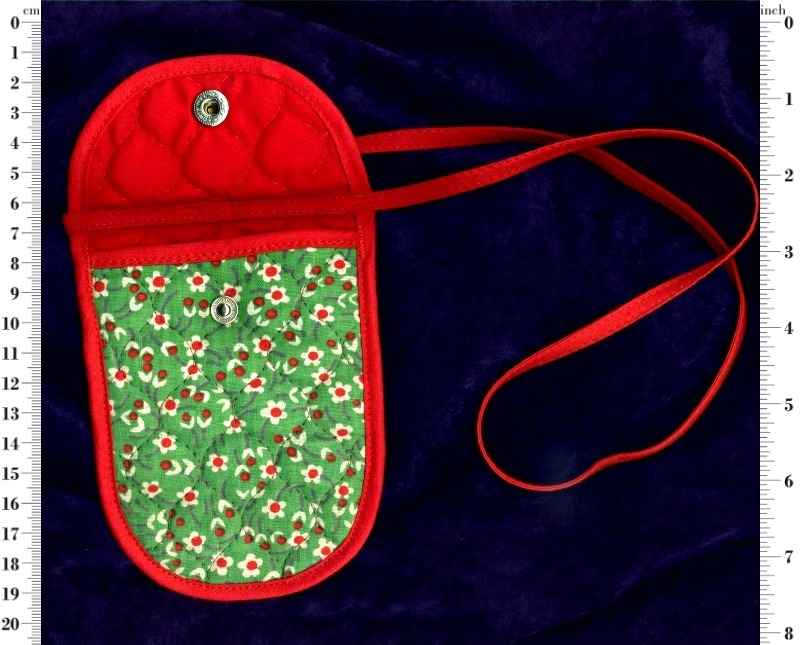 Neck pouch purse with front flap snap fastener closure