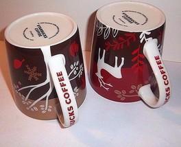 STARBUCKS Mugs 2 RARE Holiday Wolf Reindeer Christmas Gold Red Taiwan Boxes - $127.66