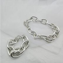 Designer Style Gold Alloy Link Chain Bracelet Matching Choker Necklace Set image 3