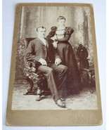 Antique Cabinet Card Photo Photograph Couple Carved Claw Foot Chair Chic... - $3.95
