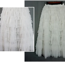 WHITE Layered Tulle Midi Skirt High Waisted Tulle Ruffle Skirt Wedding Outfit  image 4