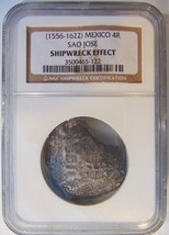 SAO JOSE Mexico 4 Reales Silver SHIPWRECK Coin NGC Spanish COB Sunken Tr... - $164.99