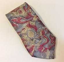Neck Tie Zylos George Machado Floral Paisley Scroll 100% Italian Silk Bu... - $27.00