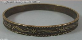 Oxidized Brass Bangle with Rope Edge - $16.00
