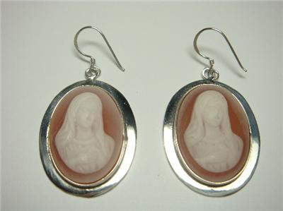 Sterling Silver Dangle Earrings Our Lady Red Cameo
