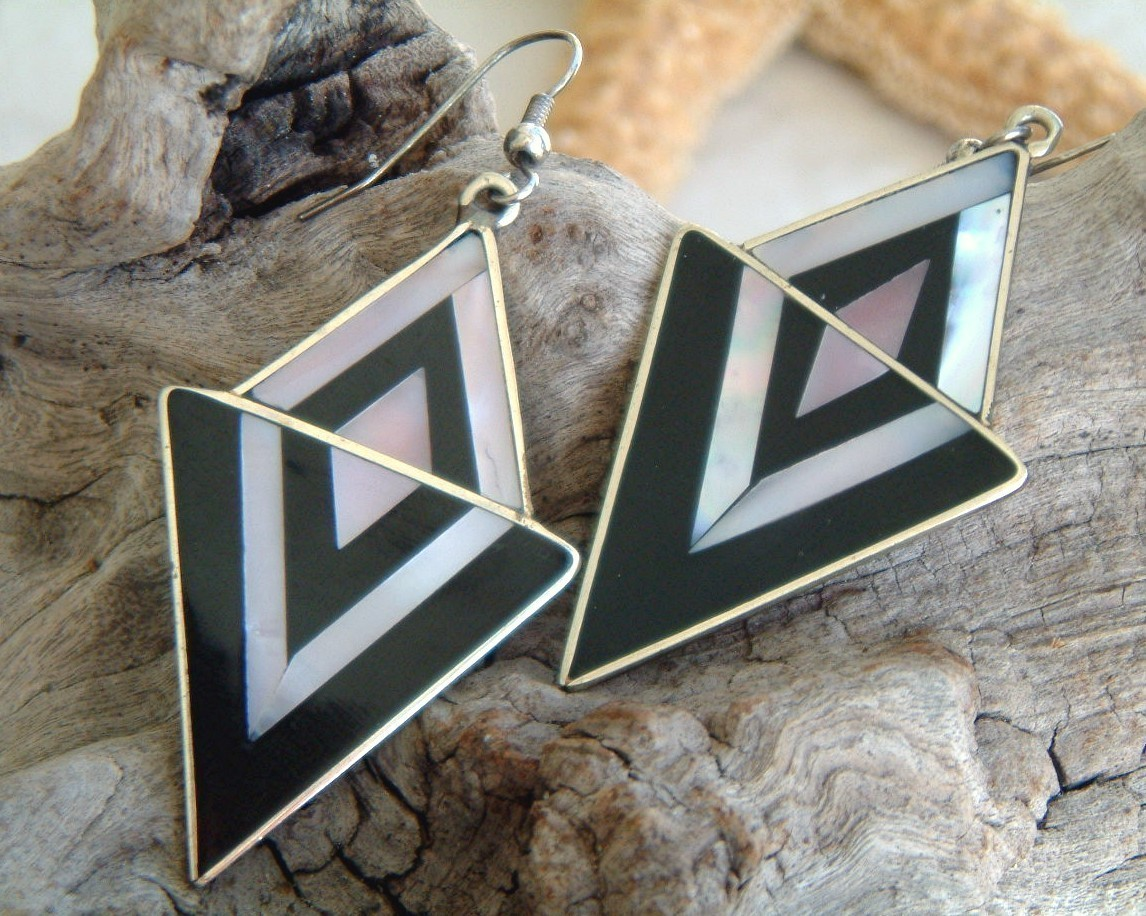 Vintage mexican earrings silver black mother of pearl geometric
