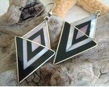 Vintage mexican earrings silver black mother of pearl geometric thumb155 crop