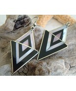 Vintage Mexico Earrings Silver Black Mother Pearl Geometric - £21.37 GBP