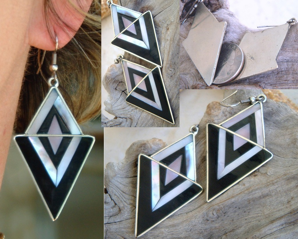 Vintage Mexico Earrings Silver Black Mother Pearl Geometric