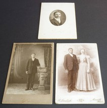Antique Cabinet Card Photos Merrill Wisconsin WI Couple and Two Men Phot... - $4.95