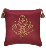 Veratex Byzantine Embroidered Red Tasseled 18-inch Square Toss Pillow - $42.00