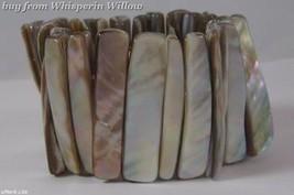 Wide Tan Shell Stretch Bracelet - $12.95