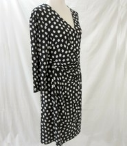 Anne Klein Dress Size XL Wrap Dress Black White Silky Jersey Knit  - $39.99