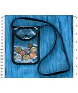 Transparent neck pouch purse with front flap snap fastener closure - $9.95