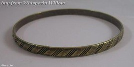 Oxidized Brass Bangle with Lined Design  - $12.50
