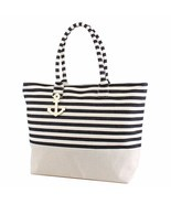 ST22 Large Zipper Top Black Stripe Print Canvas Anchor Tote Bag - $18.11 CAD